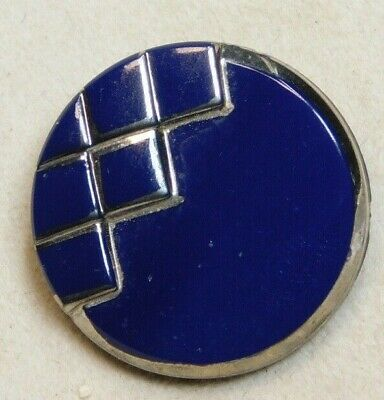 Antique Vintage BUTTON Navy Blue Glass with Silver  C8