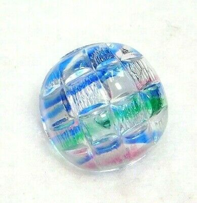 Vintage Luster Glass BUTTON Square Pink Blue Green C9