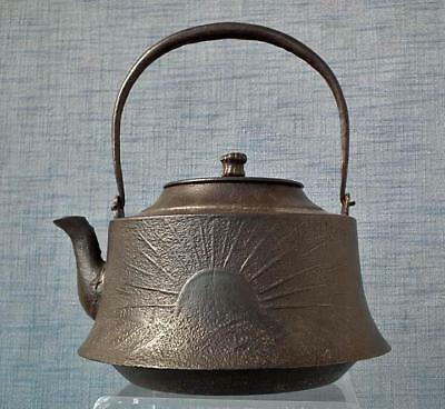 Antique Japanese 19 century Meiji Cast Iron Large Teapot Kettle Tetsubin