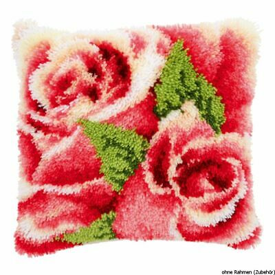 Vervaco Latch hook kit cushion Pink rose and rosebud I, DIY