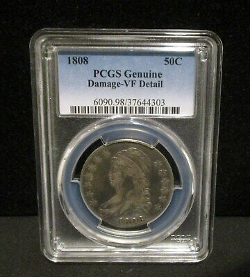 1808 Capped Bust Silver Half Dollar - PCGS Genuine Damage - VF Detail - 4303