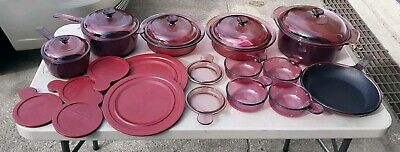 12 Piece Corning Ware Vision Cranberry 1992