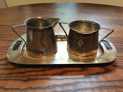 Lebolt Vintage Arts&Crafts Hand-Hammered Sterling Silver Sugar & Creamer on Tray