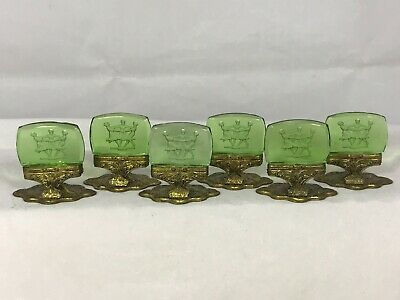 Antique Intaglio glass Place Card Holders Green Three Graces Dancing lot of 6