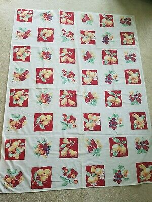 """Vintage Print Tablecloth Red Cherries Strawberries Apples Flowers 50"""" x 60"""" RECT"""