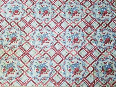 """Vintage LARGE Cotton Print Tablecloth Red CHERRIES BERRIES APPLES 55"""" x 68"""""""