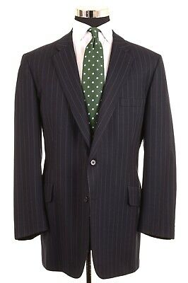Chester Barrie Savile Row Navy Blue Brushed Flannel Twill Suit Jacket Pants 48 L