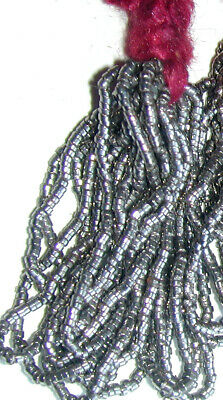 Antique French Steel Cut Silver Micro Seed Beads Hank 20th ANNIVERSARY SALE