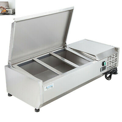 """40"""" Countertop Refrigerated Prep Rail - Condiments Sandwich Toppings Holder"""
