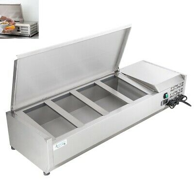 """48"""" Countertop Refrigerated Prep Rail - Condiments Sandwich Toppings Holder"""
