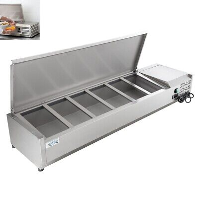 """59"""" Countertop Refrigerated Prep Rail - Condiments Sandwich Toppings Holder"""