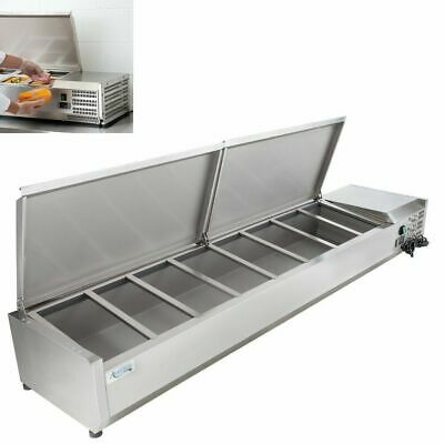 """71"""" Countertop Refrigerated Prep Rail - Condiments Sandwich Toppings Holder"""