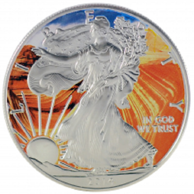 2016  American Silver Eagle  1oz  .999  Colorized Grand Canyon in capsule