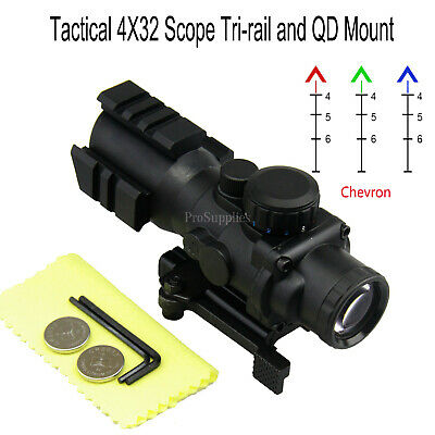AIM Tactical Scope 4X32 Tri-Rail Mount with Quick Release - 3/4 CIRCLE RETICLE