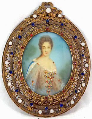 Miniature Portrait Painting Lovely Lady  Bronze Filigree Frame with Rhinestones