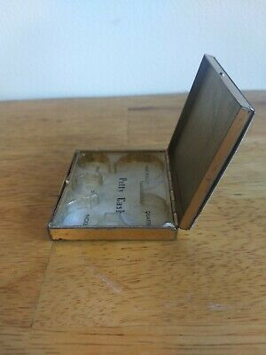 Vintage White Enamel Flowers Brass Petty Cash Compact Box Pink Rose Gold Coins