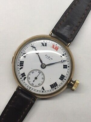 Vintage Elgin Rolled Gold Officers Trench Watch WW1 era USA 33mm Red 12 Repair