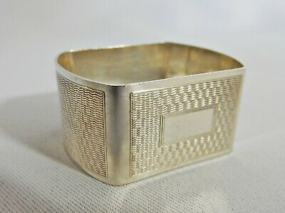 Stunning Antique Art Deco 1948 Sterling Solid Silver Napkin Ring Engine Turned