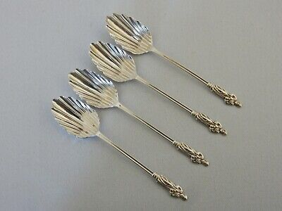 Antique Edwardian 1903 Set of 4 Sterling Silver Apostle Spoons Shell Teaspoon