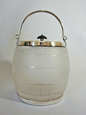 Stunning Antique Art Deco Silver Plate Frosted Glass Biscuit Barrel Ice Bucket