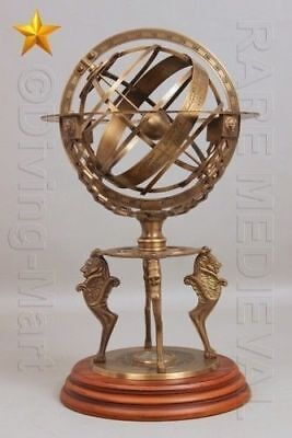 """Brass Tabletop Armillary Nautical Sphere Globes Antique 18"""" inch Large Engraved"""