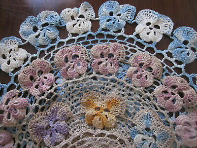 Three Lovely Hand Worked Pansy Edged Crochet Lace Doilies