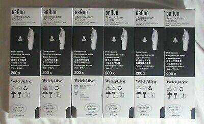 LOT 6 Boxes 1200 Pieces Welch Allyn Braun ThermoScan PC 200 Probe Covers NEW