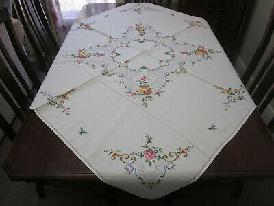 Beautiful Vintage Roses Cross Stitch  Square Tablecloth
