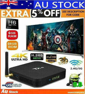 ✔AU Tanix TX6 4GB + 64GB TV Box 5G WIFI Android 9.0 bluetooth Kodi MX10 MXQ H96