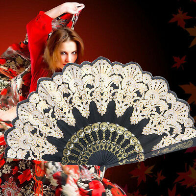 Folding Chinese Spanish Style Dance Wedding Party Lace Silk Hand Held Flower Fan