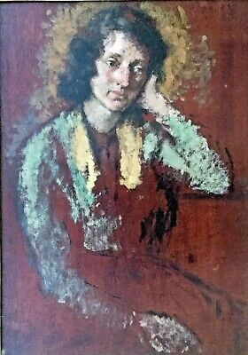 "Arthur Ralph Middleton Todd RA ""Study of a Lady"" oil on Mahogony panel"