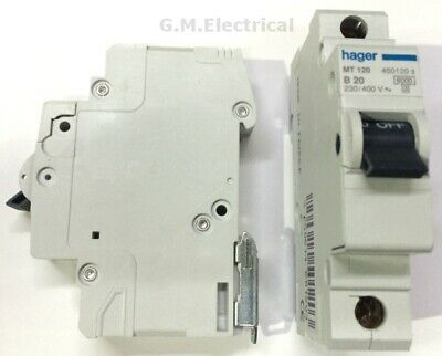 Hager 20 Amp Type B 20A Mcb Breaker Single Pole Phase B20 Mt120 6Ka Nb120