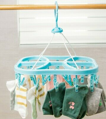 22 Clip Pegs Dryer Washing Airer Clothes Horse Socks Underwear Pants Hanger Fold