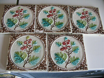 5 x VINTAGE CERAMIC FLORAL TILE   6 X 6 INCHES