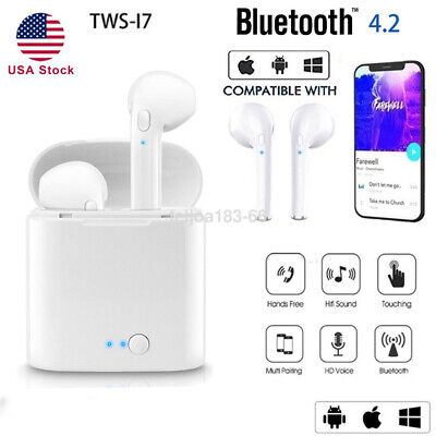i7 TWS Wireless Bluetooth Earphone Earbuds For Apple Airpods IOS Android- USA