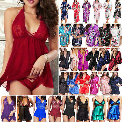 Women Silk Satin Kimono Robe Lingerie Nightie Bodysuit Bridal Sleepwear Bathrobe