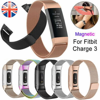For Fitbit Charge 3 Strap Replacement Milanese Stainless Steel Magnetic Buckle
