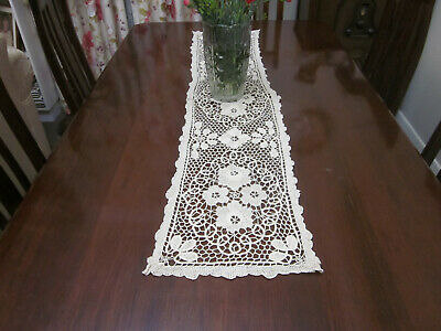 Vintage Long Point De Venise Lace Table Runner