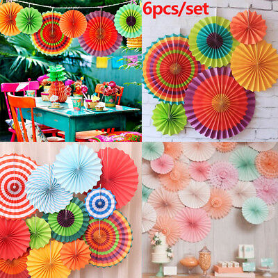 6 x Multicoloured Party Fans Christening Wedding Hawaiian Ceiling Decoration UK