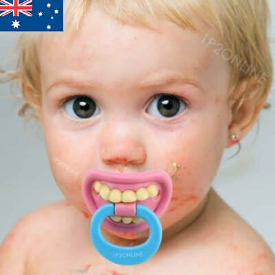 Funny Baby Dummy Orthodontic Pacifier Happy Pink Teeth Shower Girl Boy Dummies