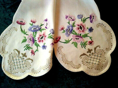 Fabulous Pastel Anemones & Scrolls  Vintage Hand Embroidered Runner/Scarf