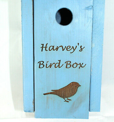 Blue tit Bird Box Wooden Personalised painted blue Handmade by Bee Beautiful