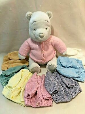 Hand Knitted Premature or Small New Born Baby Girl Pink Cardigans