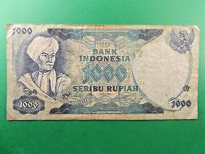 "Indonesia 1000 Rupiah PRINCE DIPONEGORO BUFFALO BANKNOTE 1975 ""VG+-F"" CONDITION"