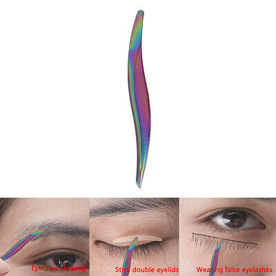Rainbow Stainless Steel Eyebrow Tweezer Eyelash Hair Scissors Cutter Remover XM
