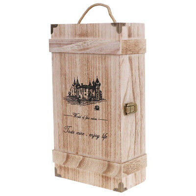 Vintage Wood 2 Red Wine Bottle Box Carrier Crate Case Storage Carrying Displ 6E8