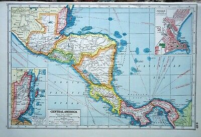 Antique Map ~ CENTRAL AMERICA ~ Harmsworth 1920