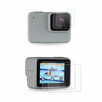 SHOOT Tempered Glass LCD Screen+Lens Protector for GoPro Hero 7 White and Silver
