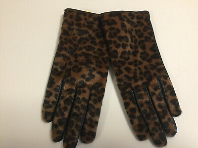 Adrienne Vittadini Womens Genuine Leather/Faux Fur Gloves Leopard Print Sz S NWT