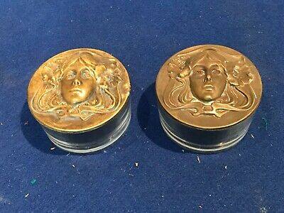Art nouveau matching lady's dressing tables trinket glass dishes